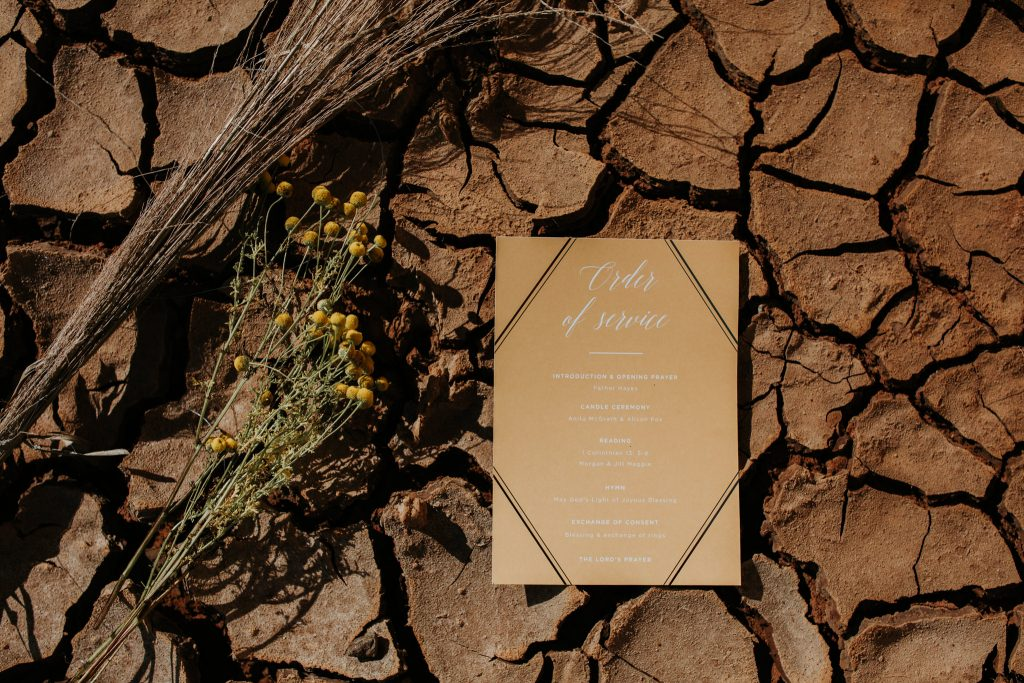 Wedding program by Paperless Brisbane Inspiration Styled Photoshoot styled by Foreva Events