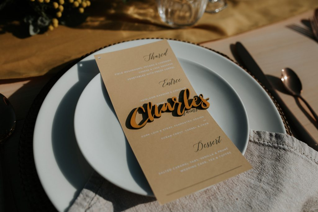 Wedding menu by Paperless Brisbane Inspiration Styled Photoshoot styled by Foreva Events